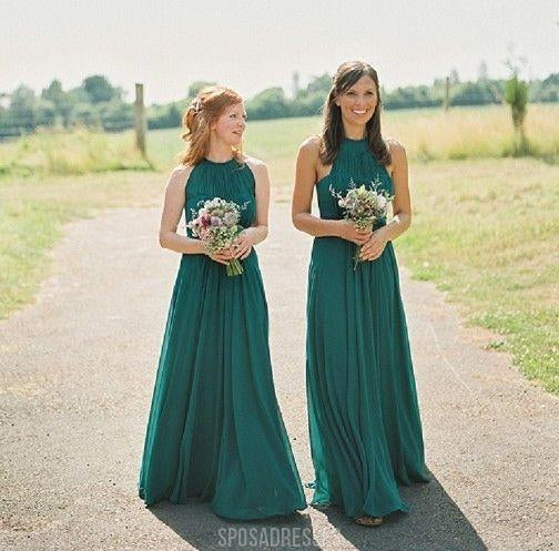 Cheap Halter Green Custom Chiffon Long Bridesmaid Dresses, WG221