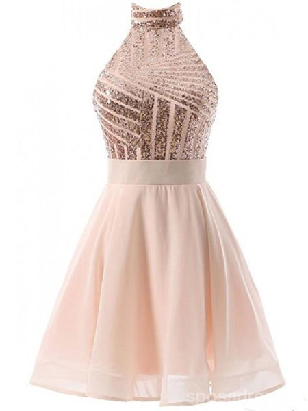 Halter Sparkly Sequin Short Homecoming Prom Dresses, Cheap Party Prom Sweet 16 Dresses, CM378