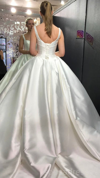 Simple Satin Elegant Straps Cheap Wedding Dresses Online, Cheap Lace Bridal Dresses, WD463