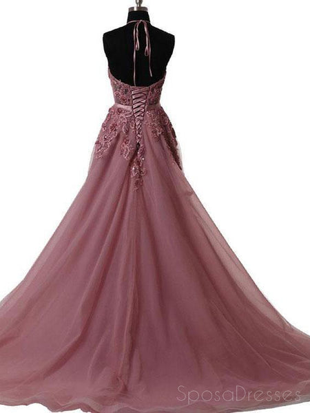 Halter Dusty Red See Through A line Lace Long Custom Evening Prom Dresses, 17408