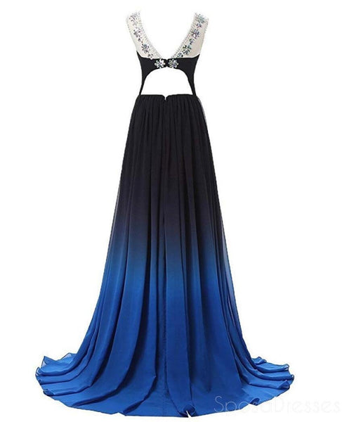 Sexy Open Back Illusion Ombre Long Evening Prom Dresses, Custom Cheap Sweet 16 Dresses, 18393