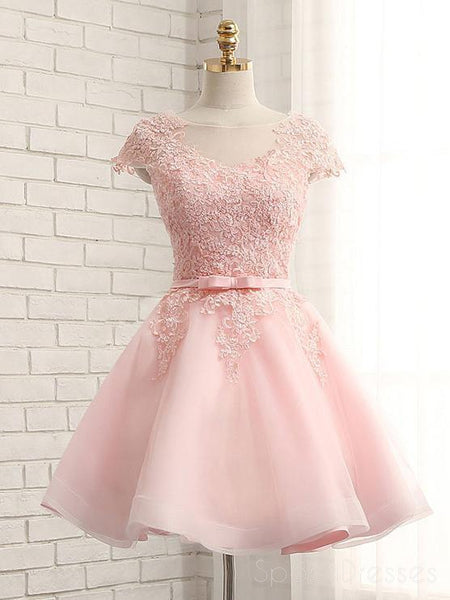 Cap Sleeve Pink Lace Beaded Tulle Short Homecoming Dresses, Cheap Homecoming Dresses, CM368