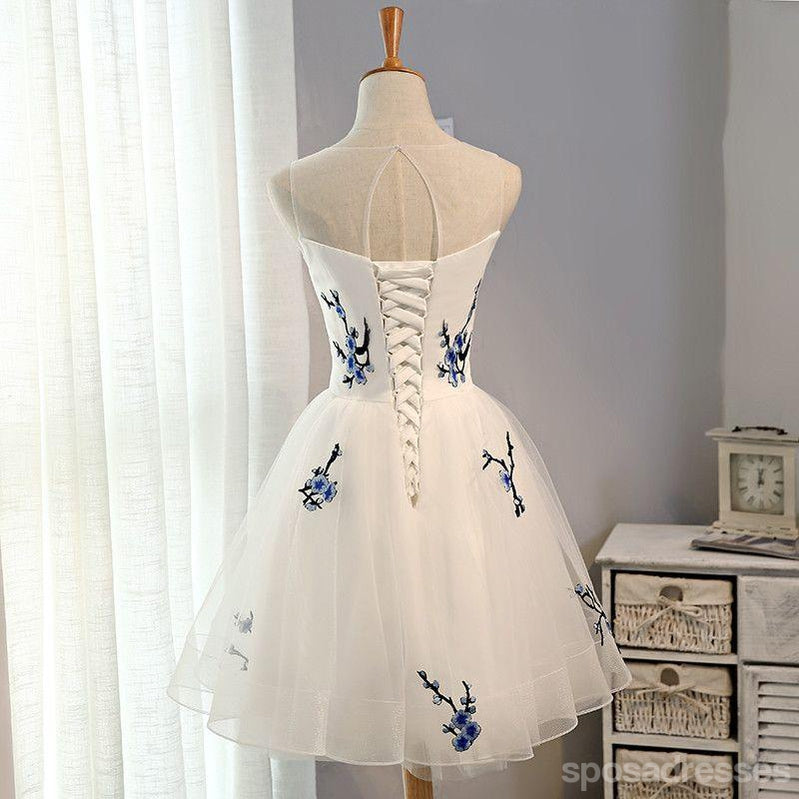 Cute Embroidery White Short Homecoming Prom Dresses, Affordable ...