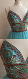 Turquoise Heavily Beaded Tulle Short Homecoming Prom Dresses, Homecoming Cocktail Dresses, CM360