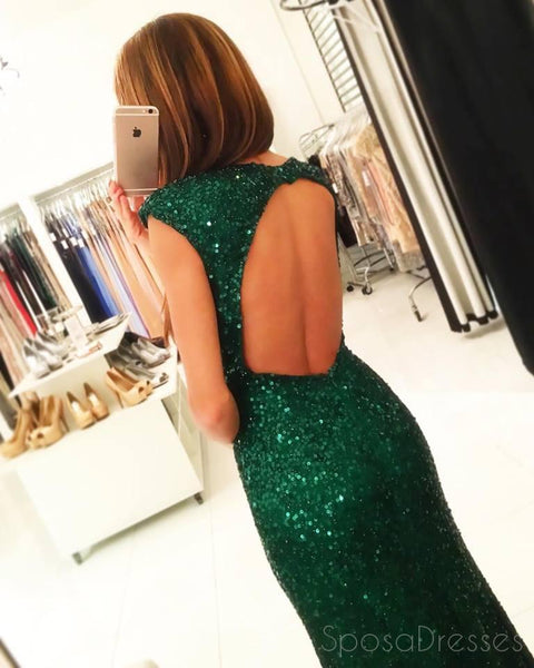 Cap Sleeve Green Sexy Split Mermaid Sequin Evening Prom Dresses, Sexy Party Prom Dresses, Custom Long Prom Dresses, Cheap Formal Prom Dresses, 17138