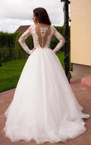 See Through Long Sleeve Lace A-line Custom  Wedding Bridal Dresses, WD284