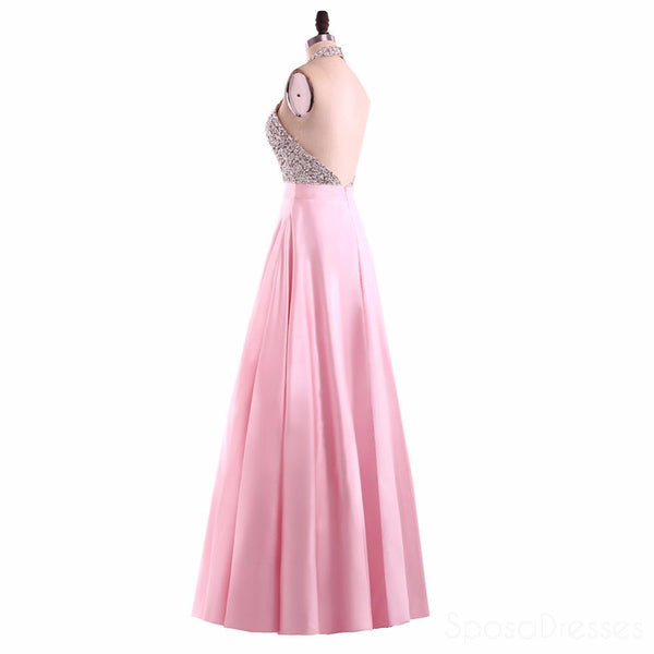 Sexy Backless Halter Heavily Beaded Pink Long Evening Prom Dresses, Popular Cheap Long 2018 Party Prom Dresses, 17236