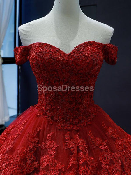 Off Shoulder Red Lace Long Evening Prom Dresses, Evening Party Prom Dresses, 12250