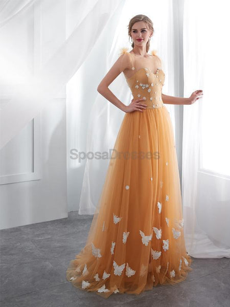 Scoop Butter Fly Orange A-line Tulle Evening Prom Dresses, Evening Party Prom Dresses, 12025