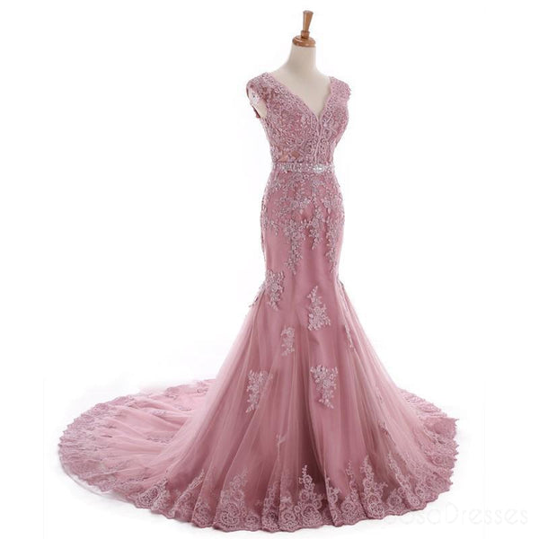 Sexy Lace Mermaid V Neckline Dusty Pink Long Evening Prom Dresses, Popular Cheap Long 2018 Party Prom Dresses, 17226