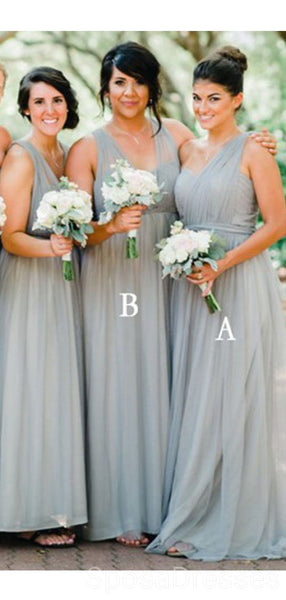 Convertible Soft Tulle Sage Green Long Cheap Bridesmaid Dresses Online, WG607