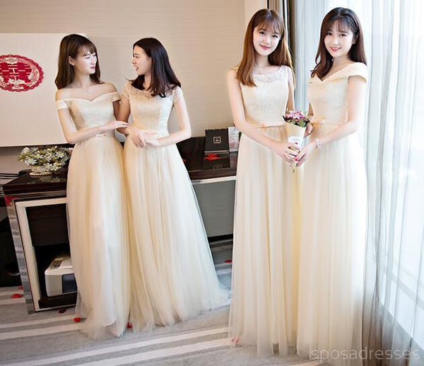 Lace Tulle Cute Long Bridesmaid Dresses, Mismatched Custom Long Bridesmaid Dresses, Cheap Bridesmaid Gowns, BD003