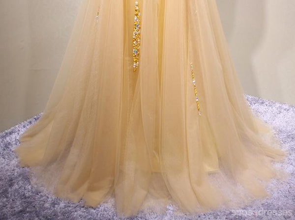 Strapless Sweetheart Gold Tulle Beaded A-line Long Evening Prom Dresses, 17617