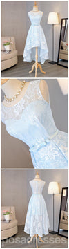 Light Blue Scoop Neckline Lace High Low Homecoming Prom Dresses, Affordable Short Party Prom Sweet 16 Dresses, Perfect Homecoming Cocktail Dresses, CM327