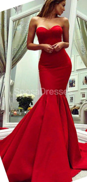 Sweetheart Red Mermaid Evening Prom Dresses, Evening Party Prom Dresses, 12268