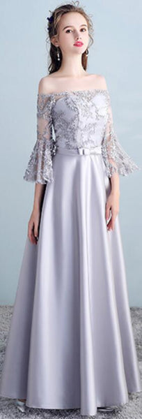 Gray Long Sleeves Lace Mismatched Cheap Long Bridesmaid Dresses Online, WG502
