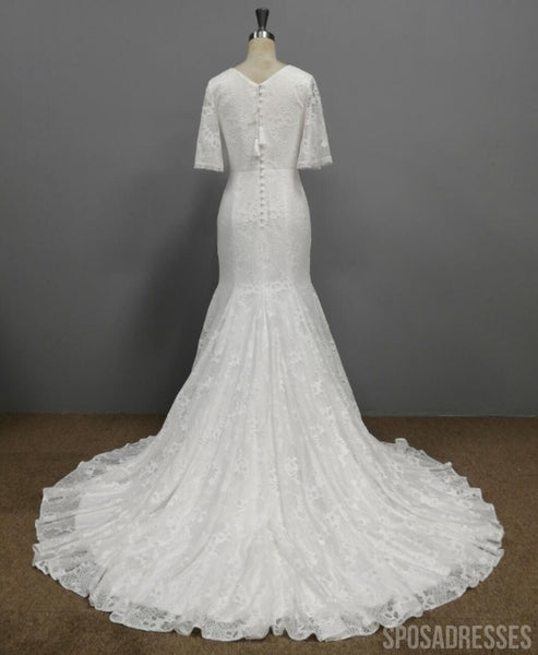 1/2 Long Sleeves Lace Mermaid Wedding Dresses, Cheap Wedding Gown, WD677