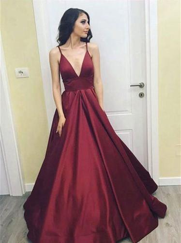 Simple Cheap Maroon Sexy Deep V Neckline A line Long Evening Prom Dresses, Popular Cheap Long Custom Party Prom Dresses, 17324