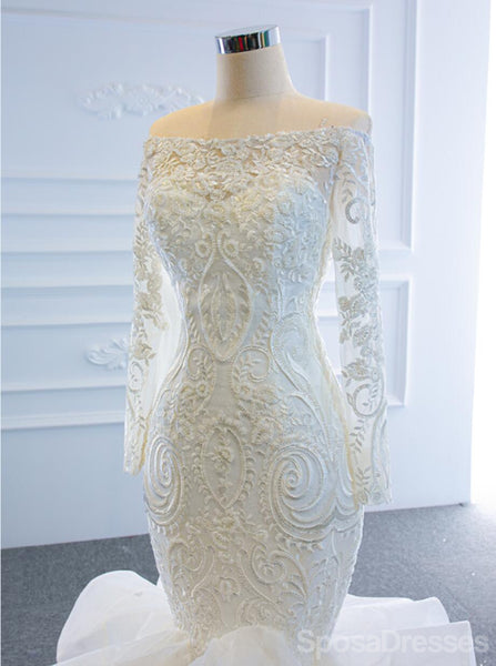 Long Off Shoulder Lace Mermaid Wedding Dresses, Cheap Wedding Gown, WD719