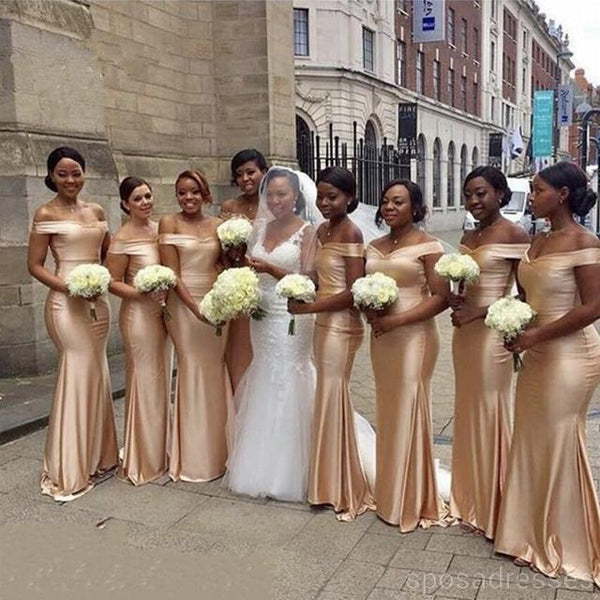 Champagne Gold Floor Length Simple Mermaid Cheap Bridesmaid Dresses, WG524