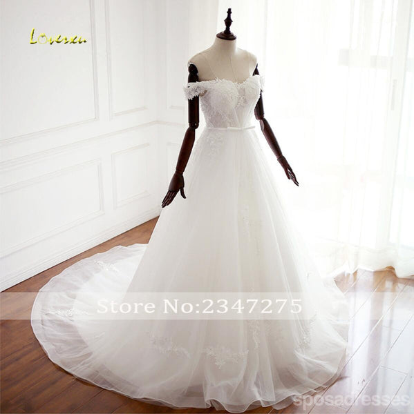 Unique Off Shoulder Lace A line Wedding Bridal Dresses, Custom Made Wedding Dresses, Affordable Wedding Bridal Gowns, WD260