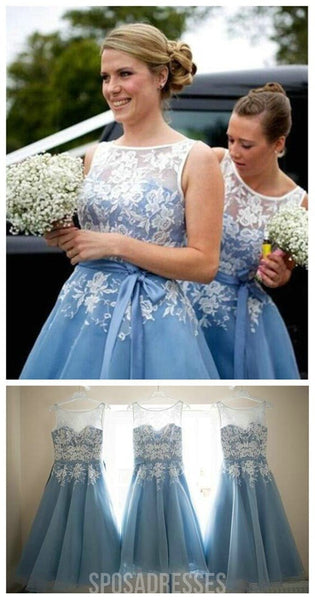 Popular Organza Bateau Sleeveless Lace Short Bridesmaid Dresses, WG31