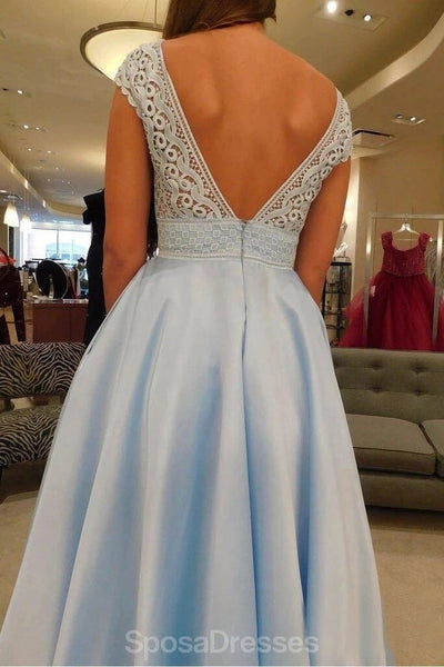 V Neck Lace Cap Sleeves Long Cheap Evening Prom Dresses, Evening Party Prom Dresses, 12345