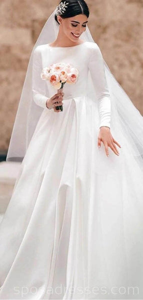 Long Sleeves A-line Long Wedding Dresses Online, Cheap Bridal Dresses, WD542