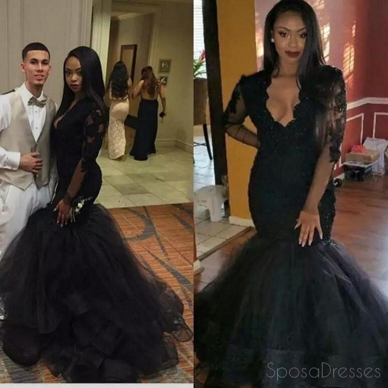 Sexy Long Sleeve Black Lace Mermaid Evening Prom Dresses, Popular Black Party Prom Dress, Custom Long Prom Dresses, Cheap Formal Prom Dresses, 17166