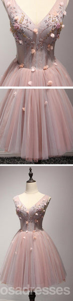 V Neckline Blush Pink Beaded Homecoming Dresses, Affordable Short Party Corset Back Prom Dresses, Perfect Homecoming Dresses, CM226