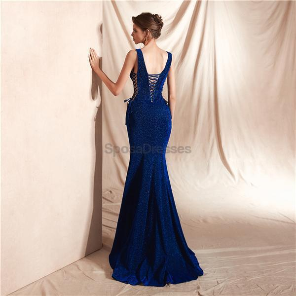 Simple V Neck Mermaid Evening Prom Dresses, Evening Party Prom Dresses, 12072