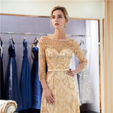 Long Sleeves Heavily Beaded Gold Evening Prom Dresses, Evening Party Prom Dresses, 12059