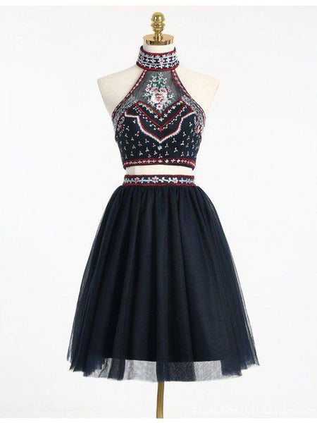 a5cdb3967b Sexy Two Pieces Navy Blue Lace Short Homecoming Prom Dresses ...