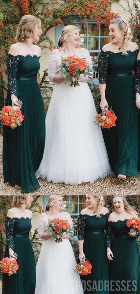 Off Shoulder 1/2 Long Sleeves Green Bridesmaid Dresses Online, Cheap Bridesmaids Dresses, WG748