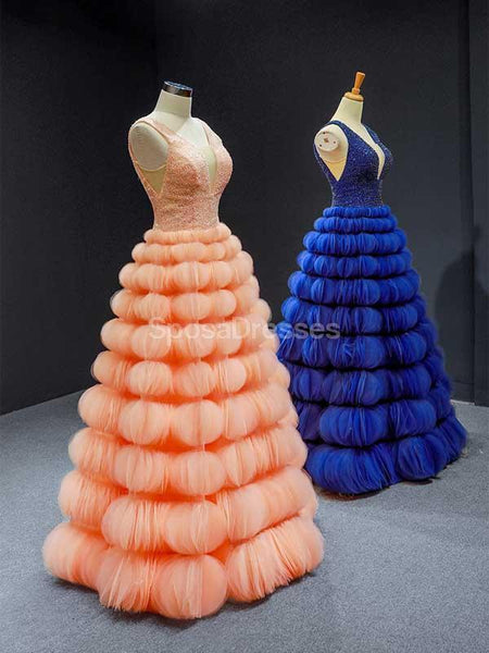 Unique V Neck Round Loops Ruffles Long Evening Prom Dresses, Evening Party Prom Dresses, 12243