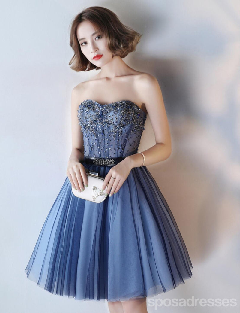 Navy Blue See Through Homecoming Prom Dresses, Affordable Corset ...