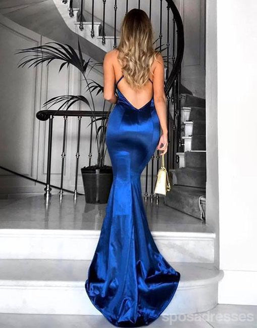 Royal Blue Sexy Backless Mermaid Long Evening Prom Dresses, Popular Cheap Long 2018 Party Prom Dresses, 17272