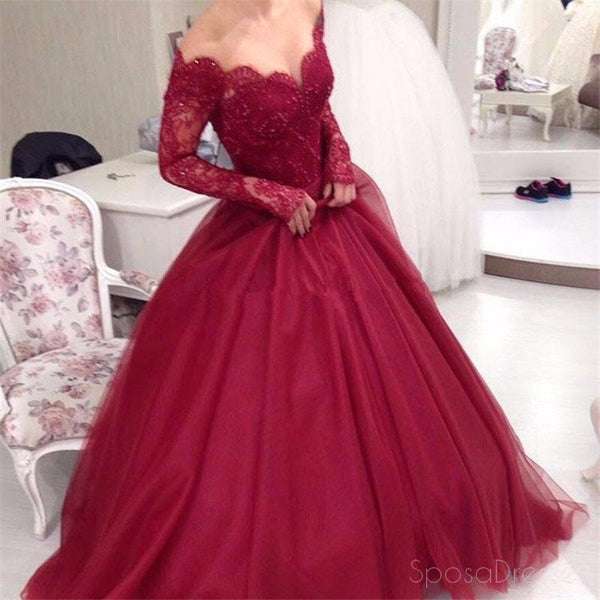 Off Shoulder Dark Red Long Sleeve Lace A line Long Evening Prom Dresses, 17470