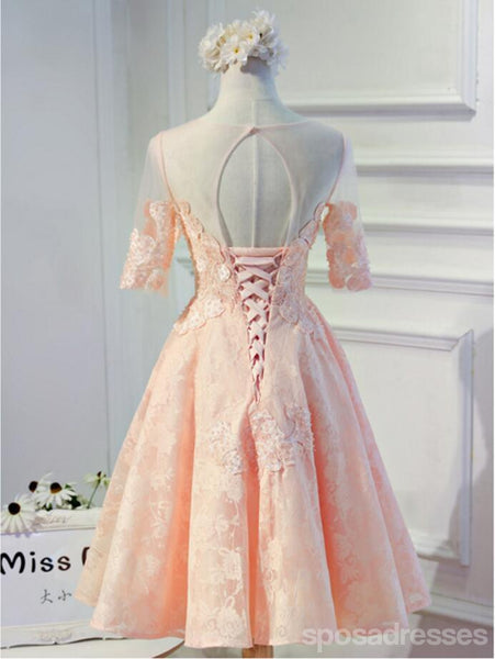 Short Sleeve Peach Lace Open Back Homecoming Prom Dresses, Affordable Short Party Prom Dresses, Perfect Homecoming Dresses, CM297