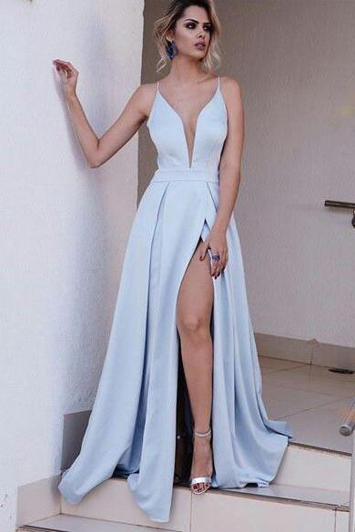 V Neck Spaghetti Straps Side Slit Blue Mermaid Long Evening Prom Dresses, 17507