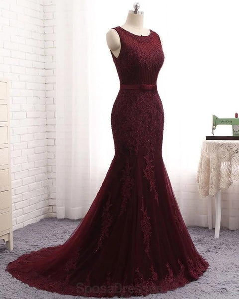 Scoop Maroon Lace Beaded Mermaid Long Evening Prom Dresses, Evening Party Prom Dresses, 12165
