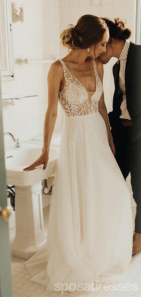 Sexy V Neck See Through Cheap Wedding Dresses, Beaded A-line Bridal Dresses, WD434
