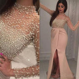 Long Sleeve Pearls Beaded Slit Mermaid Evening Prom Dresses, Popular Unique Party Prom Dress, Custom Long Prom Dresses, Cheap Formal Prom Dresses, 17167