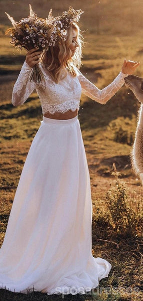Long Sleeves Lace Bodice Two Pieces Wedding Dresses Online, Cheap Bridal Dresses, WD626