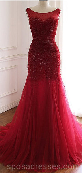 Mermaid See Through Red Long Evening Prom Dresses, Cheap Custom Party Prom Dresses, 18598