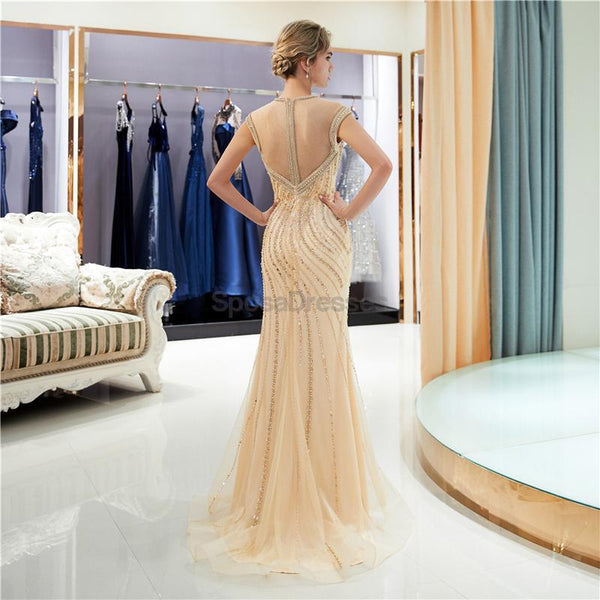 Gold Rhinestone Cap-Sleeves Heavily Beaded Mermaid Evening Prom Dresses, Evening Party Prom Dresses, 12042