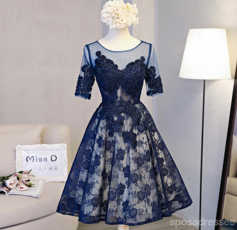 Short Sleeve Navy Lace Open Back Homecoming Prom Dresses, Affordable Short Party Prom Dresses, Perfect Homecoming Dresses, CM298