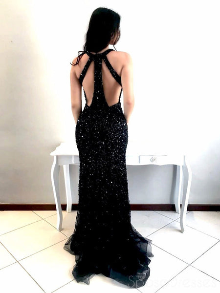 Sexy Deep V Neck Black Rhinestone Mermaid Floor Length Custom Long Evening Prom Dresses, 17372