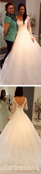 Charming V-Neck Long Sleeve Lace Wedding Party Dresses, Gorgeous Bridal Gown, WD0032