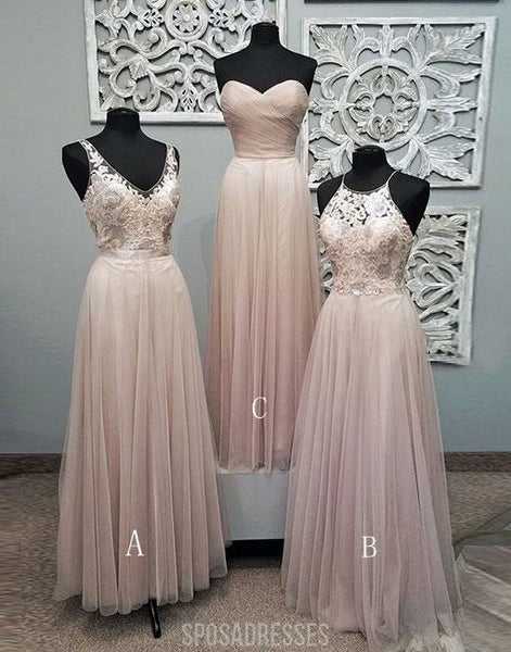 Mismatched Pale Blush Pink Lace Custom Bridesmaid Dresses, Cheap Unique Tulle Long Bridesmaid Gown, BD121